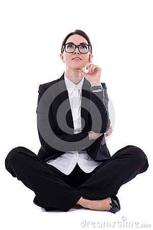 Free Young Beautiful Happy Business Woman Sitting And Dreaming About Stock Photos - 69731643