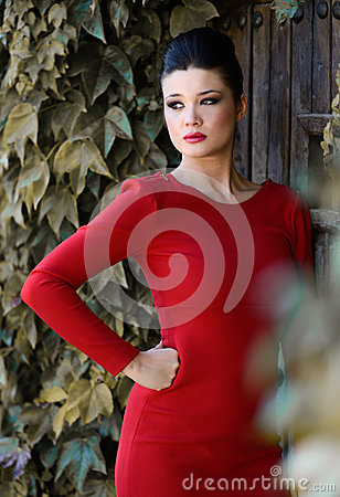Free Young Beautiful Japanese Woman With Red Dress Stock Images - 35856974