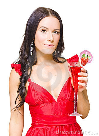 Young Beautiful Party Girl Holding Cocktail