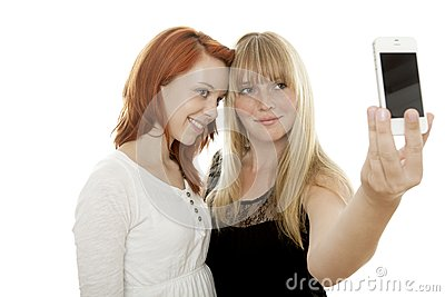 Young beautiful red and blond haired girls