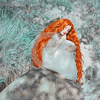 Free Young Beautiful Renaissance Red-haired Girl With Very Long Curly Hair Sitting On A Rock Stock Photos - 119286993