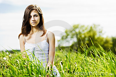 Young beautiful woman on the nature