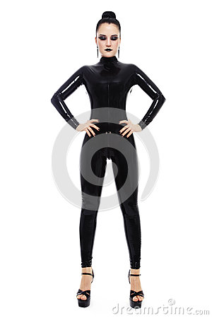 Girl on black catsuit