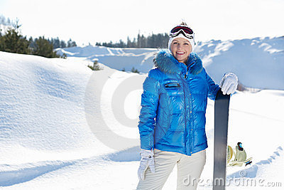 Young Beautiful Snowboarder Royalty Free Stock Images - Image: 23528249