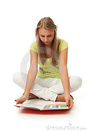 The young beautiful student with the book