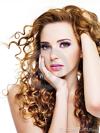 Young beautiful  woman with beauty hairs