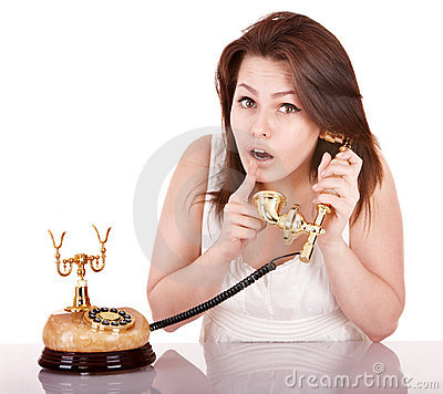 Young beautiful woman calling by phone.