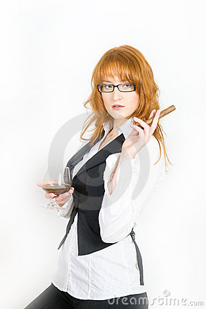 Young beautiful woman with cigar and alcohol drink