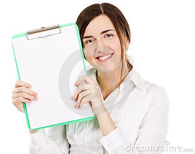 Young beautiful woman with a clear paper sheet