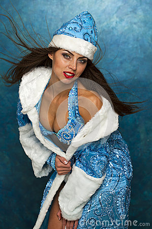 Free Young Beautiful Woman Dressed As Russian Snow Maiden Royalty Free Stock Photo - 47209245