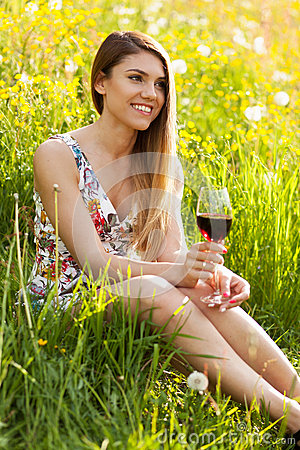 Free Young Beautiful Woman Drinking Wine Outdoors Royalty Free Stock Photo - 54693375