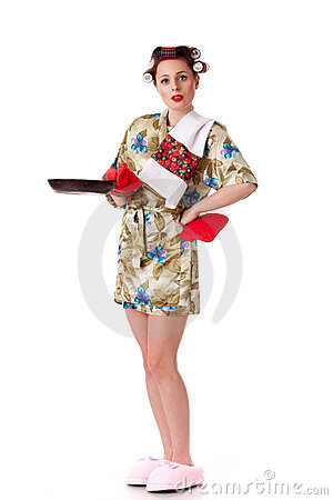 Young beautiful woman with frying pan.