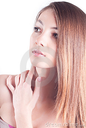 Young Beautiful Woman Headshot isolated