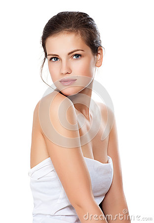 Young beautiful woman with healthy skin
