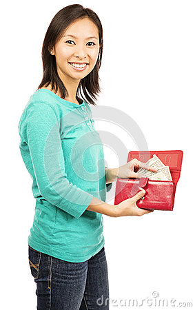 Free Young Beautiful Woman Holding A Wallet Stock Photo - 36896630