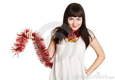 Young beautiful woman holding christmas decoration
