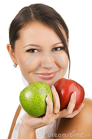 Free Young Beautiful Woman Holding Two Apples Stock Photos - 11635773