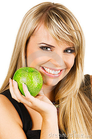 Free Young Beautiful Woman Holding Two Apples Royalty Free Stock Image - 11733786