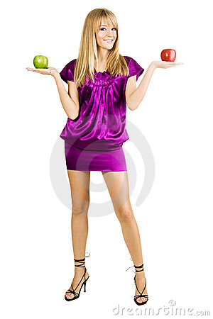 Free Young Beautiful Woman Holding Two Apples Stock Photography - 11811322