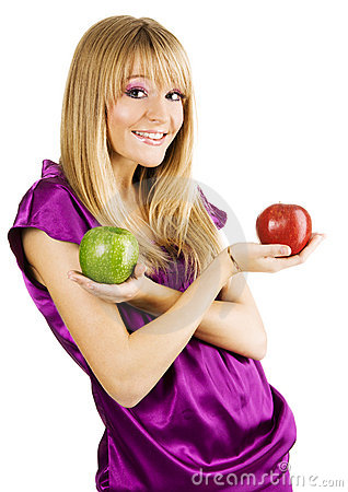 Free Young Beautiful Woman Holding Two Apples Stock Photography - 11811332