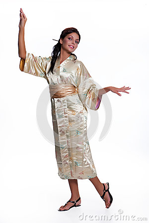 Free Young Beautiful Woman In Japanese National Clothing Royalty Free Stock Photo - 80768825