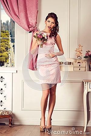 Free Young Beautiful Woman In Pink Dress. Fashion Model Shooting. Stock Photos - 48945223