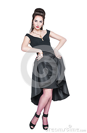Free Young Beautiful Woman In Retro Pin Up Style Posing Stock Images - 49452074