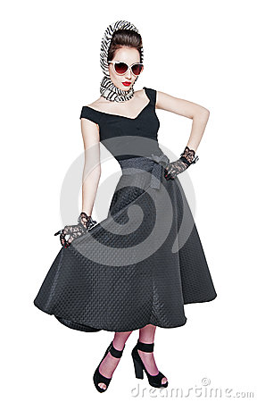 Free Young Beautiful Woman In Retro Pin Up Style Posing Isolated Stock Photography - 56169332
