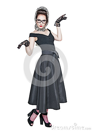 Free Young Beautiful Woman In Retro Pin Up Style Posing Isolated Royalty Free Stock Photos - 57173848