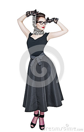 Free Young Beautiful Woman In Retro Pin Up Style Posing Isolated Royalty Free Stock Images - 57173849