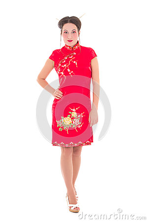 Young beautiful woman in japanese dress isolated on white