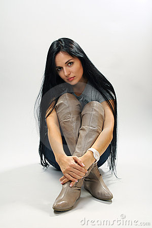 Young beautiful woman with long black hair.
