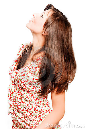 Young beautiful woman with luxury long brown hairs