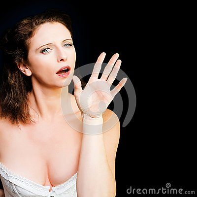 Young Beautiful Woman Miming In Silent Drama