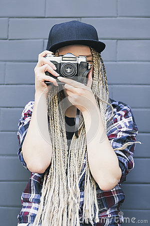 Free Young Beautiful Woman Photographer Is Taking A Photo. Stock Image - 95426381