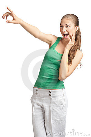 Young beautiful woman pointing