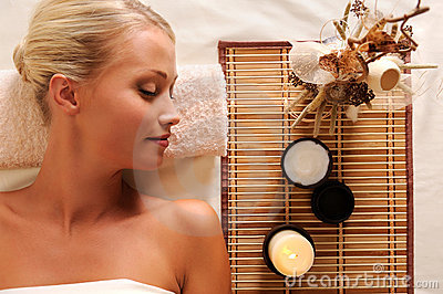 Young beautiful woman recreation in spa salon