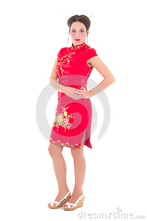 Young beautiful woman in red japanese dress isolated on white