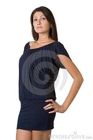 Young beautiful woman in short dark blue dress