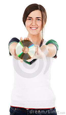 Young beautiful woman showing a CD