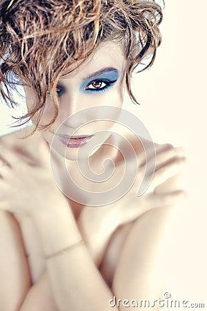 Young beautiful woman with stylish make-up