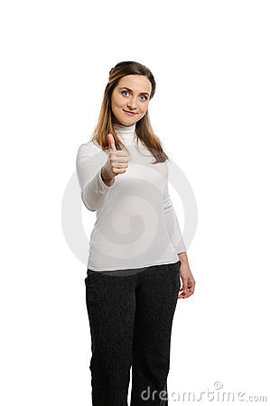Young beautiful woman thumbs up