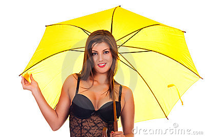 Young beautiful woman under umbrella