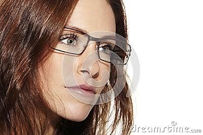 Young beautiful woman wearing glasses, close up Stock Photo