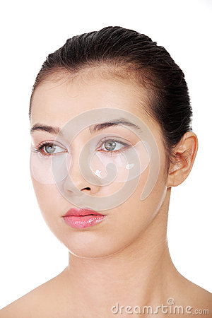 Free Young Beautiful Woman With Collagen Eye Lift Mask Royalty Free Stock Photo - 27113105