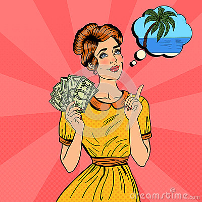 Free Young Beautiful Woman With Money Dreaming About How To Spend. Pop Art Stock Photos - 74776593