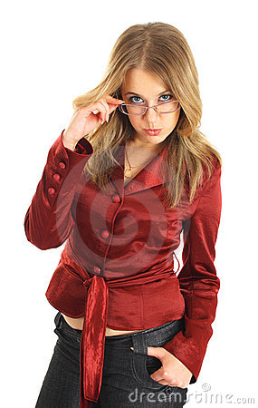 Young beautiful woman in glasses isolated