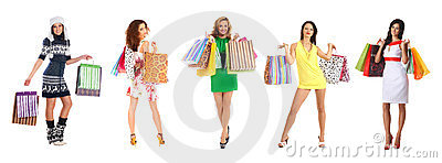 Young and beautiful women with shopping bags