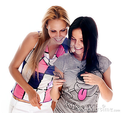 Free Young Beautiful Women Using The Cellphone Stock Photo - 10225920