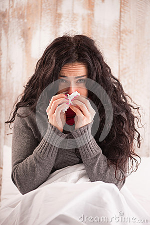 Free Young Beauty Caught A Cold Royalty Free Stock Image - 49172296